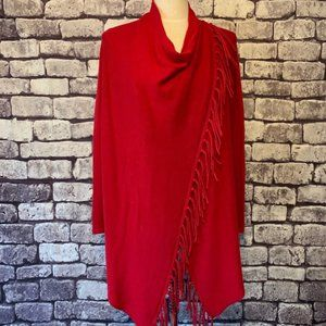 Chico's Red Long Sleeves Poncho/Sweater Size M